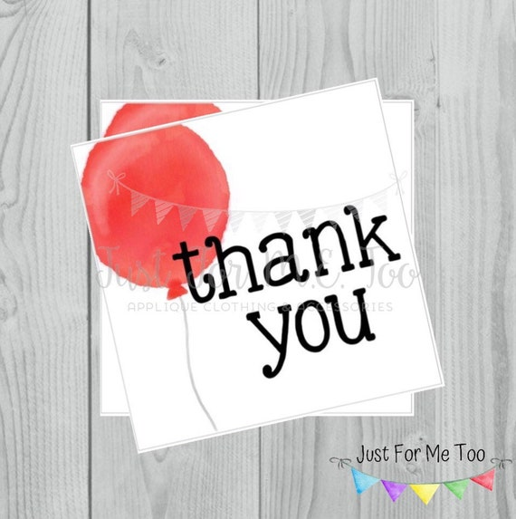 Instant Download Printable Thank You Tags, Printable Thank You Party Tags, Red Balloon Tag, Birthday Favor Tag