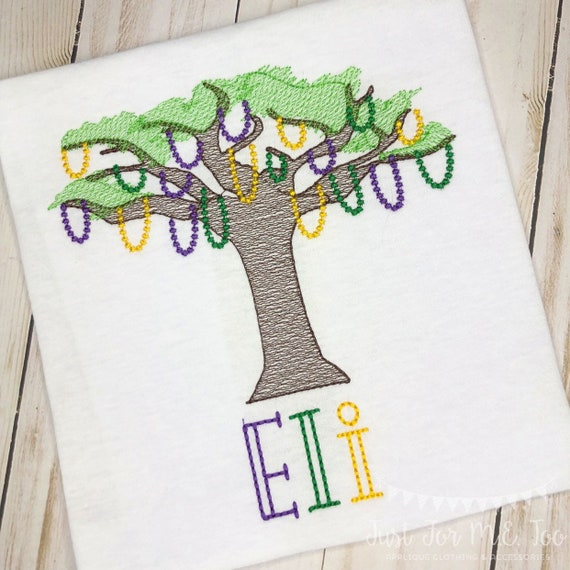 Personalized Mardi Gras Shirt, Mardi Gras Tree with Beads, Mardi Gras sketch shirt, New Orleans