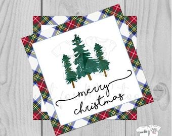 Plaid Merry Christmas Printable Tags, Instant Download, Christmas Tag, Gift Tag, Tartan Plaid Tag