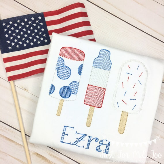 Personalized Popsicle Embroidered shirt or bodysuit , embroidered, Popsicle, 4th of July Pop, Popsicle Trio
