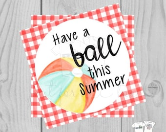 Instant Download Printable Beach Ball Tag, Summer Party Tag, Summer Printable, Pool Party, Gift, Summer Tag, Instant Download, End of School
