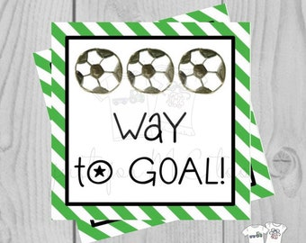 Soccer Printable Tags, Way To Goal, Instant Download, School Tags, Sports Tags, Cheerleader, Soccer, Snack Tag