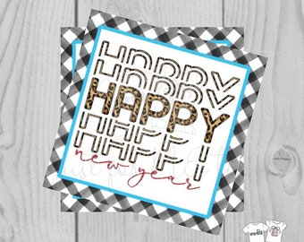 Happy New Year Printable Tag, Instant Download, Gift Tag, 2021 Gift Tag, Gifting, New Years Gift, New Year Party