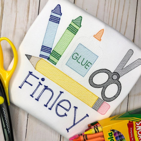 Personalized Back to School Supply Set Sketch Stitch Embroidery Shirt, crayons, pencil, glue, scissors, 1st day of school