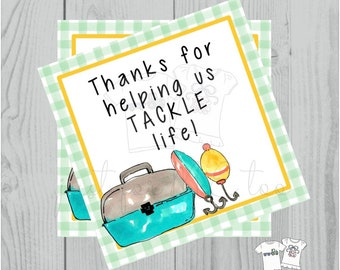 Printable Tags, Instant Download, Thank You Tags, Square Gift Tags, Father's Day Tag, Fishing Tag, Fish, Tacklebox, Thank You