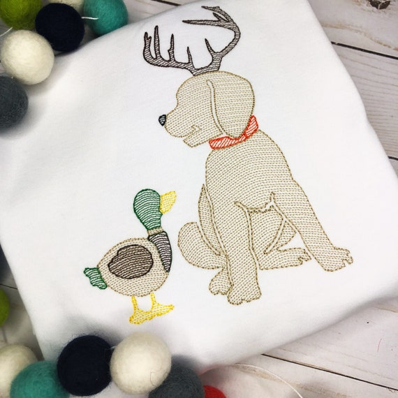 Personalized Hunting Dog Stitch Shirt, Fall Shirt, Hunting Applique, Personalized Deer Dog Shirt, Vintage stitch Dog, Boys Shirt
