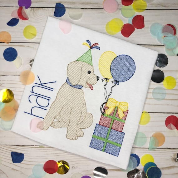 Personalized Birthday Dog Embroidered Sketch Shirt - Embroidered Dog with Balloons, Birthday Shirt, Birthday Dog