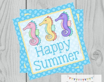 Happy Summer Printable Tags, Sea Horse, Instant Download, Summer Tags, Summer Tags, Summer, Pool Party. End Of School, Party
