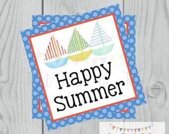 Happy Summer Printable Tags, Sailboat Tags, Instant Download, Summer Tags, Sailboats, Summer, Pool Party, Happy Summer