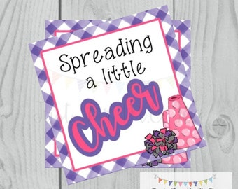 Cheer Printable Tags, Spreading a little Cheer, Instant Download, School Tags, Cheerleading Tags, Cheerleader, Football, Pink