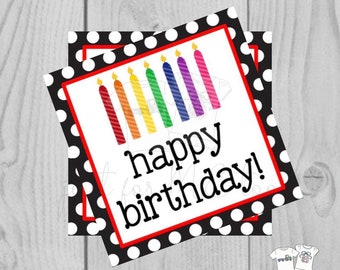 Happy Birthday Digital Tags, Printable Party Tags, Birthday Printable, Happiness Tags, Birthday Tags, Gift Tags, Party Tags
