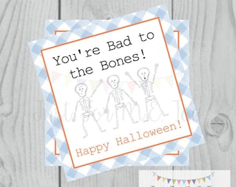 Halloween Printable Tags, Instant Download, Skeleton Tags, Square Gift Tag, Gingham, Lunchbox, Printable, Bad to the Bones