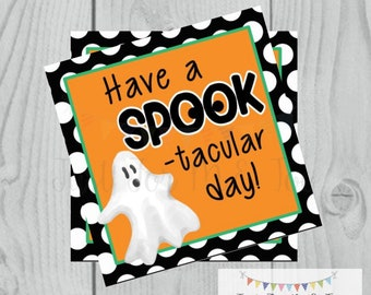 Halloween Printable Tags, Instant Download, Boy Ghost Tags, Square Gift Tags, Happy Halloween, Lunchbox, Halloween Tag, Spooktacular