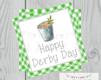 Derby Printable Tags, Instant Download, Derby Day, Square, Printable, Mint Julep, Kentucky Derby, Horse Race, Horse Party, Happy Derby Day