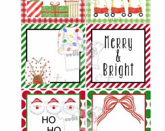 Christmas Bundle 6 Printable Christmas Tags, Instant Download, Christmas Gift Tag, Gifting Tags