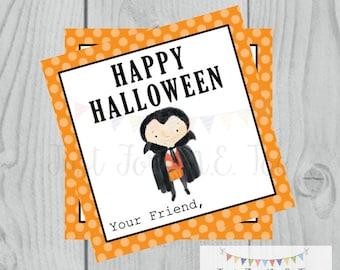 Halloween Printable Tags, Instant Download, Happy Halloween Tags, Square Gift Tags, Halloween Friends, Printable, Halloween Pals