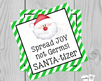 Santa-tizer Printable Tags, Instant Download, Christmas Tags, Square Gift Tags, Merry Christmas, Santa Tag, Gift Tag, Sanitizer Tag, Santa