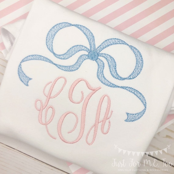 Personalized Girls Bow monogram Shirt or Bodysuit, Monogram with a bow, Monogram, Girl monogram, embroidered, Bow