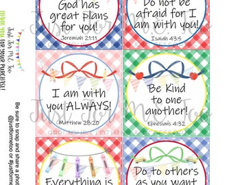 Verse Cards, Printable Tags, Lunchbox Notes, Instant Download, School Tags, Back to School Verse Cards