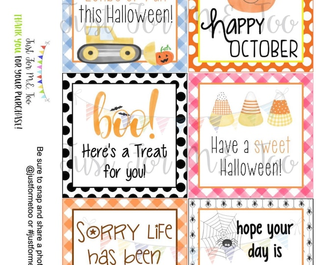 Featured listing image: October Printable Tag Bundle, Digital Tags, Gift Tag, Happy Fall Tag, Pumpkin Tags , Download, Halloween Tag, Lunchbox Note, Happy Note