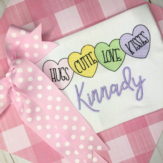 Personalized Girls Conversation Heart Sketch Shirt- Valentine's Day- Vintage Conversation- Candy Heart Trio- embroidery