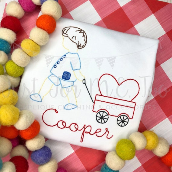 Personalized Valentine Boy, Boy Pulling Wagon, Valentine's Day, Heart, Embroidered, Free Ship