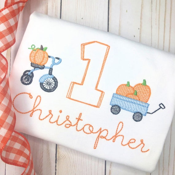 Personalized Birthday Pumpkin Embroidered Shirt or Bodysuit, Fall Birthday, First Birthday Applique shirt, pumpkin bike, pumpkin wagon