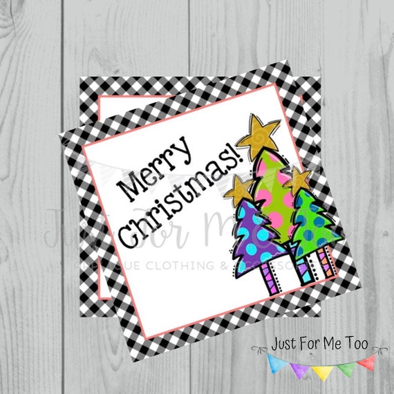 Merry Christmas Printable Tags, Instant Download, Colorful Christmas Tree Tags, Square Gift Tags, Merry Christmas, Lunchbox, Printables