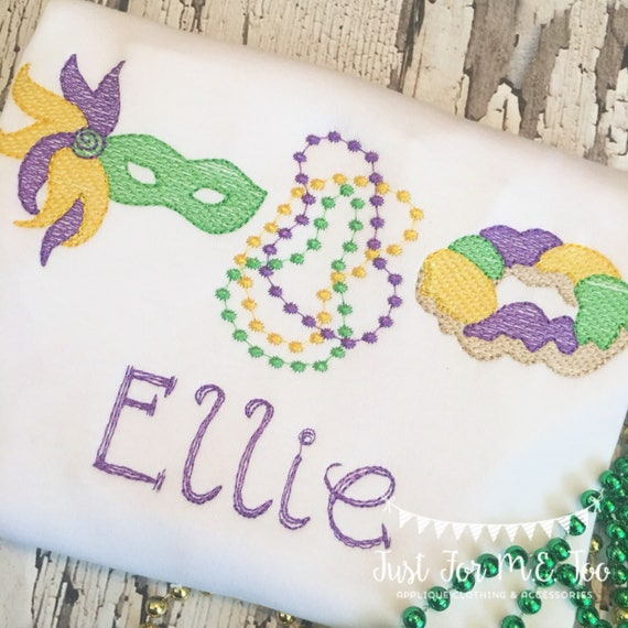 Personalized Mardi Gras embroidery Shirt, Mardi Gras Shirt, King Cake applique, Vintage Mardi Gras Shirt, Mardi Gras Beads