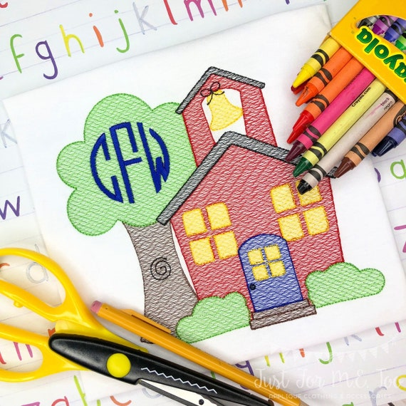 Personalized Back to School Sketch Stitch Embroidery Shirt, Monogram school shirt, schoolhouse vintage shirt, 1st day of school, library