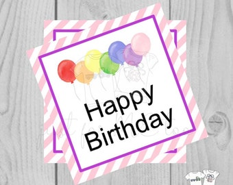 Happy Birthday Digital Tags, Printable Party Tags, Birthday Printable, Happiness Tags, Birthday Tags, Gift Tags, Party Tags, Balloons, Pink