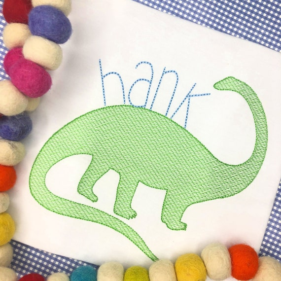 Personalized Dinosaur Embroidered Shirt, Dino Birthday, Dinosaur Applique, Embroidered, Sketch Dinosaur