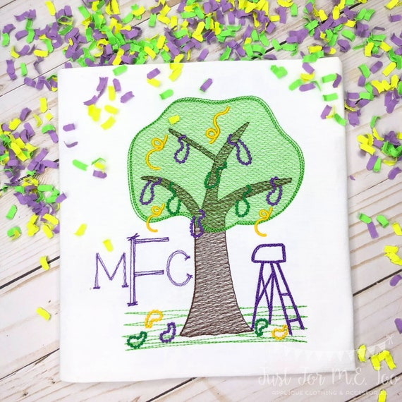 Personalized Mardi Gras Shirt, Mardi Gras Tree with Beads, Mardi Gras sketch shirt, New Orleans, Boys, Girls