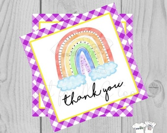 Rainbow Printable Tags, Instant Download, Thank You Tags, Square Gift Tags, Classroom, Rainbow Tag, Treats, Rainbow Tag, Colorful, Lucky