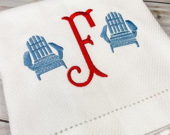 Embroidered Towel, Decorative Towel, Tea Towel, Hostess Gift, Housewarming, Bar Cart, Patriotic, Summer, Adirondack Monogrammed Hand Towel