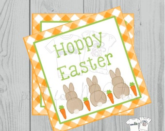 Easter Printable Tags, Instant Download, Bunny Tags, Square Gift Tags, Teacher Tag, Hoppy Easter Tag, Treats, School Tag