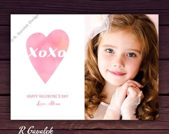 Valentine Photo Card   Printable Personalized Valentine   XOXO   Happy Valentines Day   Valentines Day Cards for Kids   Custom Valentines