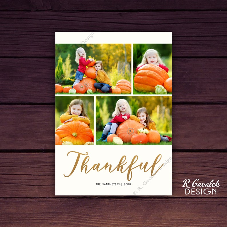 Thanksgiving Photo Card Happy Thanksgiving Thankful Thanksgiving Card Thanksgiving Collage Card Holiday Greeting Card with Photos