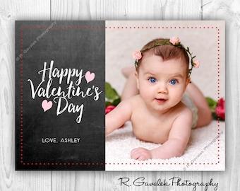 Chalkboard Valentine Photo Card   Happy Valentine's Day Card   Chalkboard Style Valentine   Custom Printable Valentines