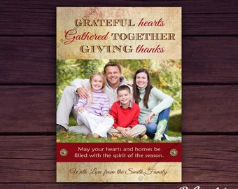 Printable Thanksgiving Photo Card   Thanksgiving Card with Picture   Custom Greeting Cards   Give Thanks   Thanksgiving Wishes