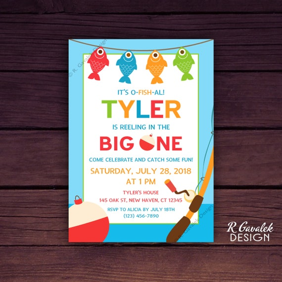 Fishing First Birthday Invitation Custom Printable Birthday Invitation 1st Birthday Party Reeling In The Big One Gone Fishing Party