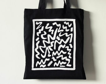 Squiggly Lines Black Tote Bag