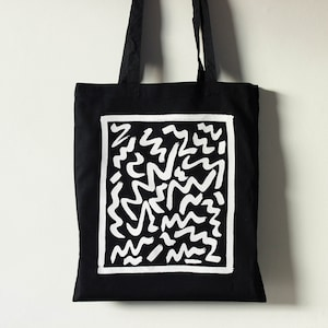 Medium Tote bag vhs handwoven blackbluewhite black polypro straps unique tote black cotton lining sustainable tote