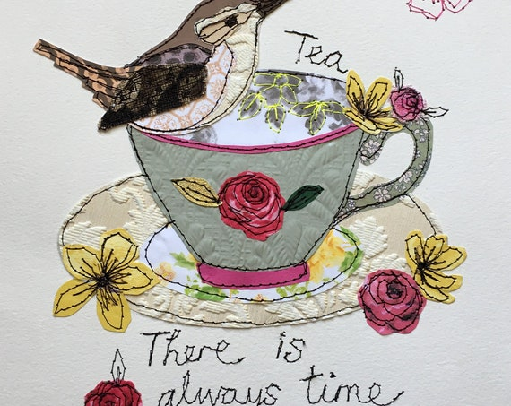 TeaTime Wren- Stitched Original art- bird/floral