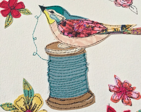 Sewing Bird- stitched mixed media- original art