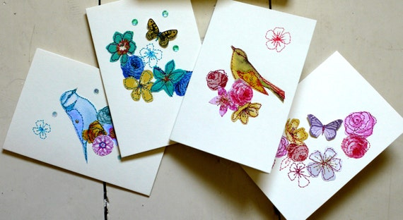 Set of 3 Handmade greeting cards- stitched