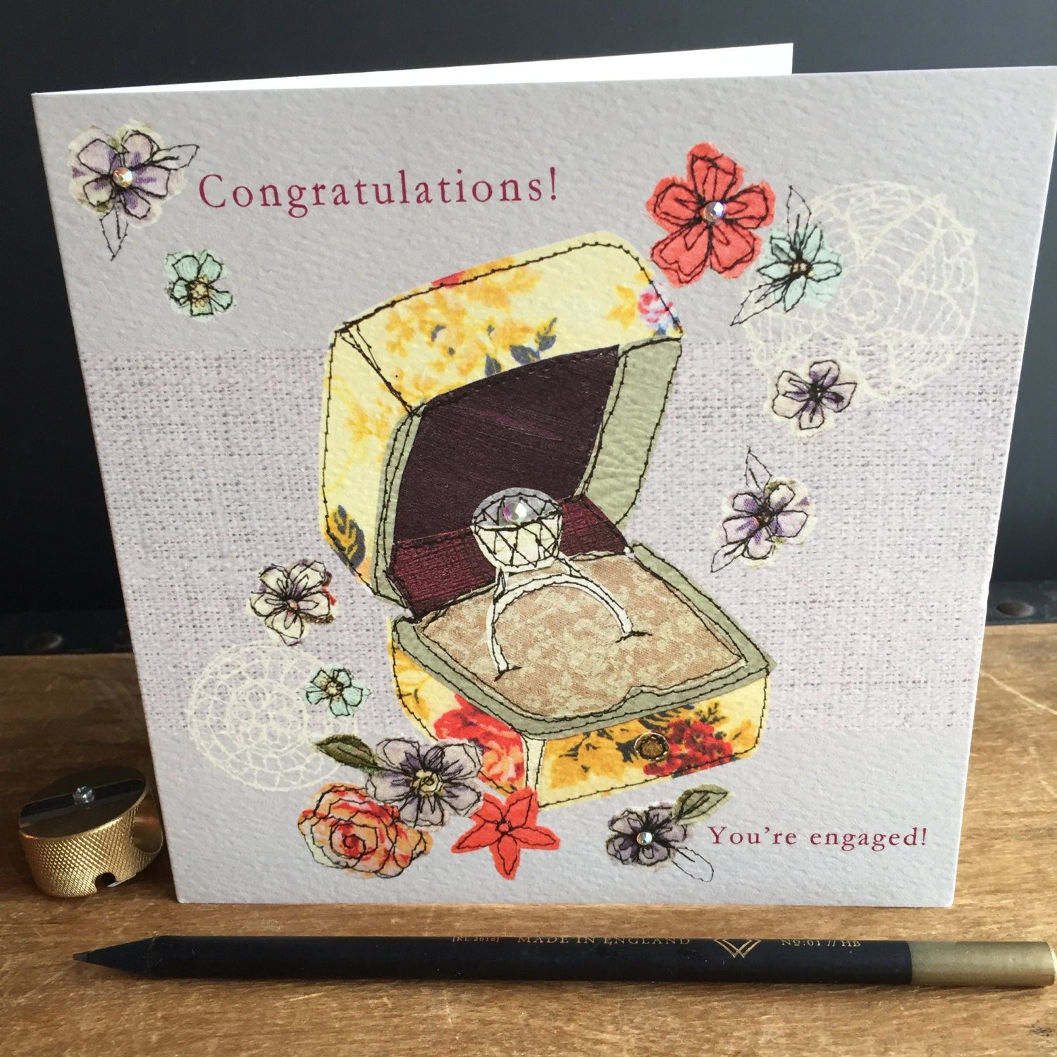Engagement Greeting Card Handfinished