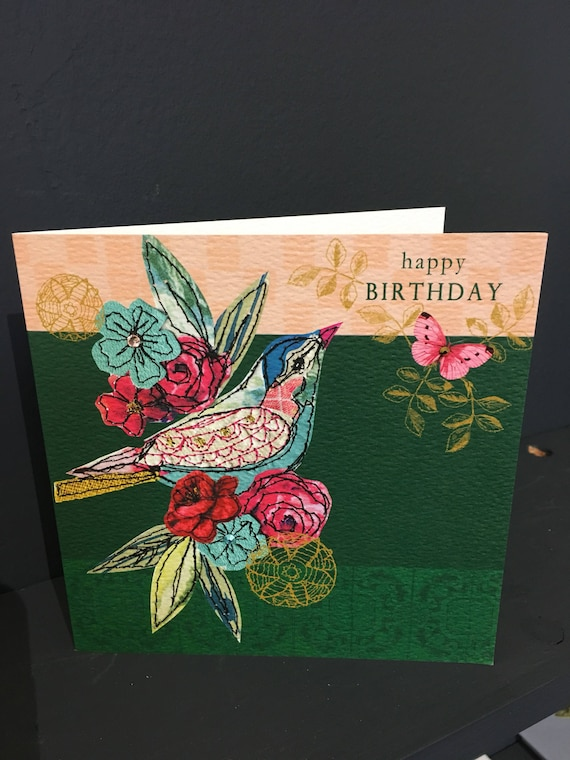 Vintage bird new-Greeting Card- handfinished