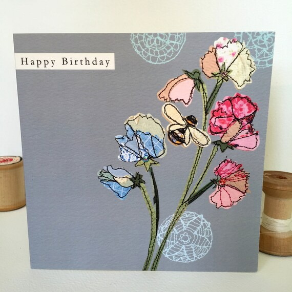 Sweetpea-Greeting Card- handfinished