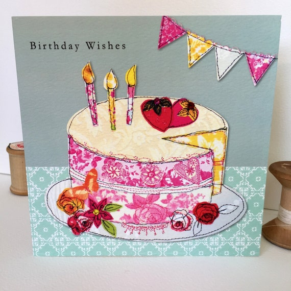 Birthday cake-Greeting Card- handfinished